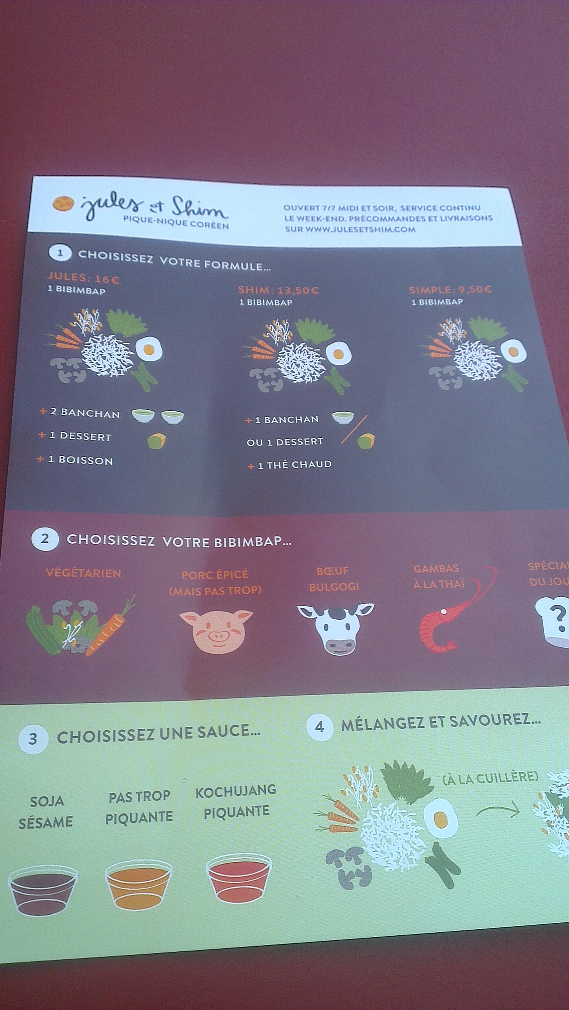 menu Jules et Shim