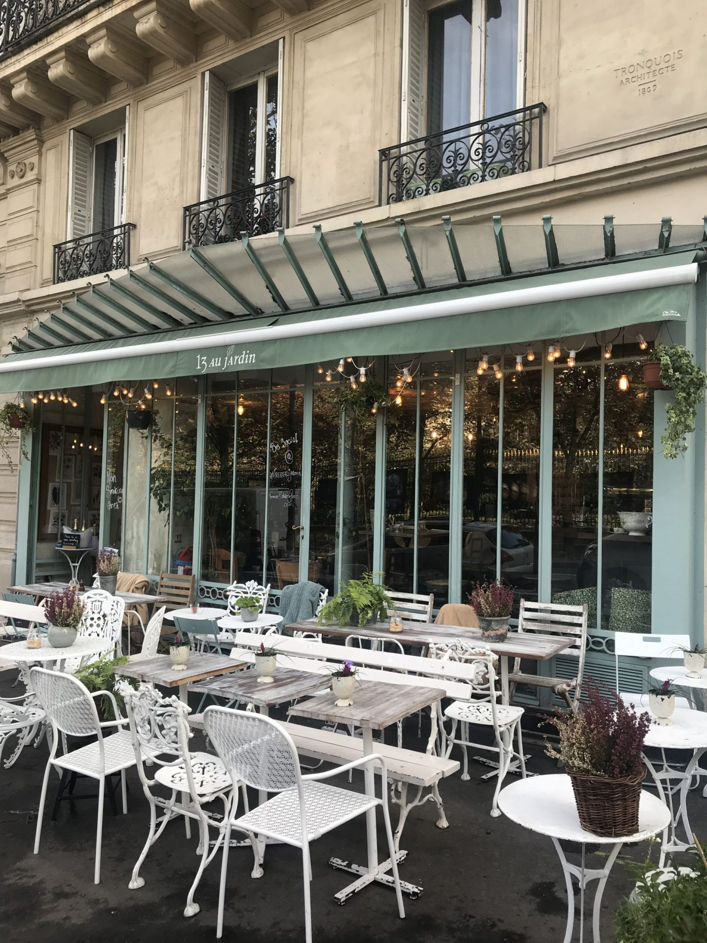 Solo coffee at Treize au Jardin, Paris – terrace with a view!